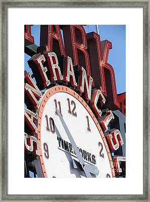 San Francisco Giants Baseball Scoreboard And Clock 5d28235 Framed Print