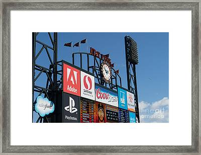 San Francisco Giants Baseball Scoreboard And Clock Dsc1163 Framed Print