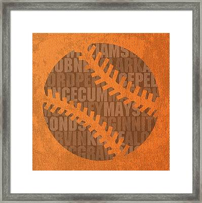 San Francisco Giants Baseball Typography Famous Player Names On Canvas Framed Print
