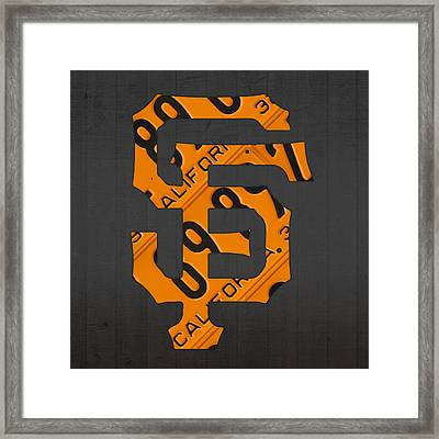 San Francisco Giants Baseball Vintage Logo License Plate Art Framed Print