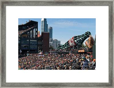 San Francisco Giants Fan Lot Giant Glove And Bottle Dsc1176 Framed Print by Wingsdomain Art and Photography