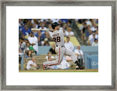 San Francisco Giants V Los Angeles Framed Print by Stephen Dunn