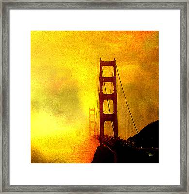 San Francisco Golden Gate Bridge Commute In Sun And Fog Framed Print