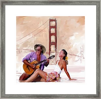 San Francisco Guitar Man Framed Print