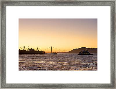 San Francisco Harbor Golden Gate Bridge At Sunset Framed Print