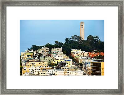 San Francisco California Hills And Coit Tower Framed Print