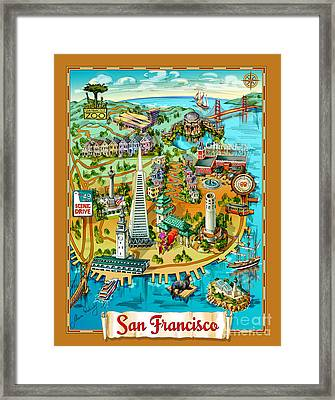 San Francisco Illustrated Map Framed Print by Maria Rabinky
