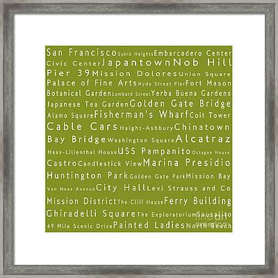 San Francisco In Words Olive Framed Print