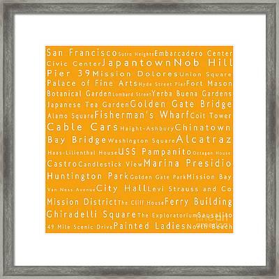 San Francisco In Words Orange Framed Print