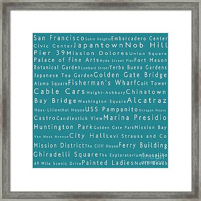 San Francisco In Words Teal Framed Print