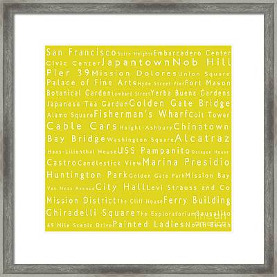 San Francisco In Words Yellow Framed Print