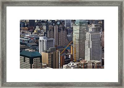 San Francisco Museum Of Modern Art And Skyscrapers Framed Print by Adrian Mendoza