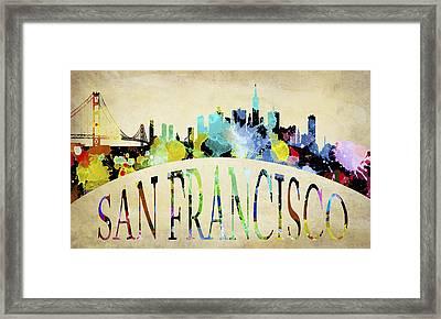 San Francisco Paint Splatter Skyline Framed Print by Daniel Hagerman