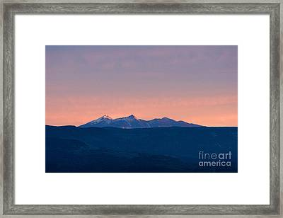 Framed Print featuring the photograph San Francisco Peaks At Sunrise by Ron Chilston