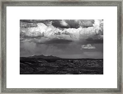 San Francisco Peaks Snow Rain And Clouds Framed Print