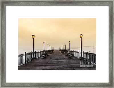 San Francisco Pier 5 Sunset Framed Print by Mel Ashar