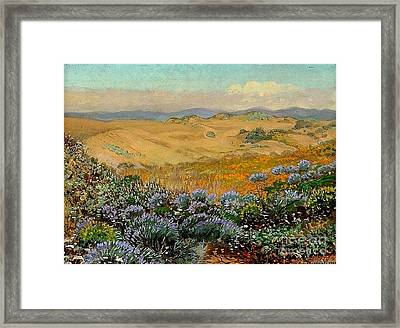 San Francisco Sand Dunes And Wildflowers Framed Print by Roberto Prusso