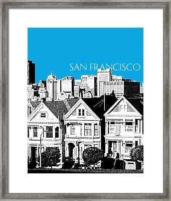 San Francisco Skyline Alamo Square - Ice Blue Framed Print by DB Artist