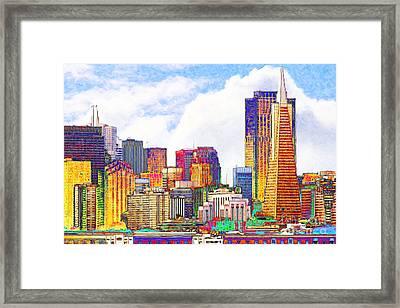 San Francisco Skyline Along The Embarcadero 5d29399 Photoart Framed Print by Wingsdomain Art and Photography