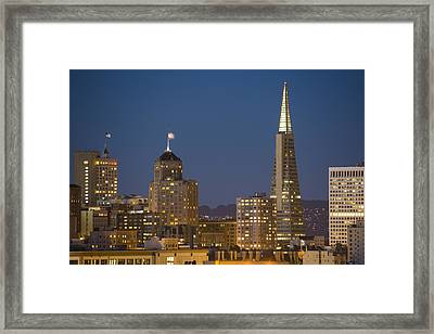 San Francisco Skyline At Dusk Framed Print by Adam Romanowicz