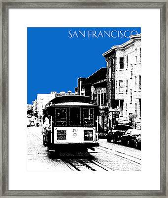 San Francisco Skyline Cable Car 1 - Blue Framed Print by DB Artist