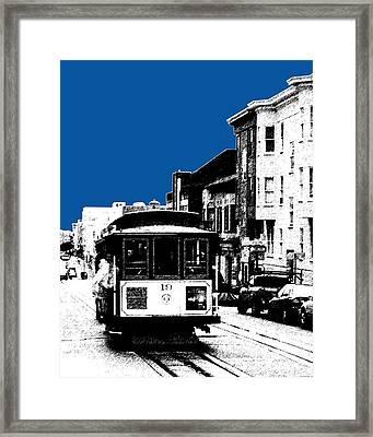 San Francisco Skyline Cable Car 1 - Royal Blue Framed Print by DB Artist