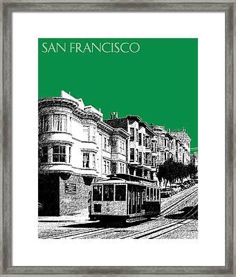 San Francisco Skyline Cable Car 2 - Forest Green Framed Print