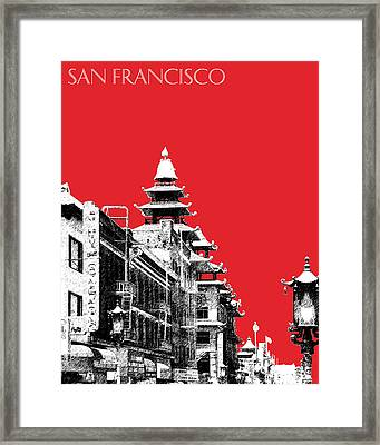 San Francisco Skyline Chinatown - Red Framed Print by DB Artist