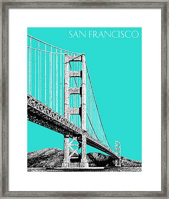 San Francisco Skyline Golden Gate Bridge 2 - Aqua Framed Print by DB Artist