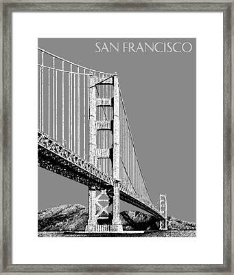 San Francisco Skyline Golden Gate Bridge 2 - Pewter Framed Print by DB Artist
