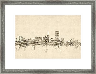 San Francisco Skyline Sheet Music Cityscape Framed Print