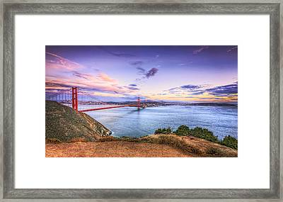 San Francisco Sunset And The Golden Gate Bridge From Marin Headlands 2 Framed Print by Jennifer Rondinelli Reilly - Fine Art Photography