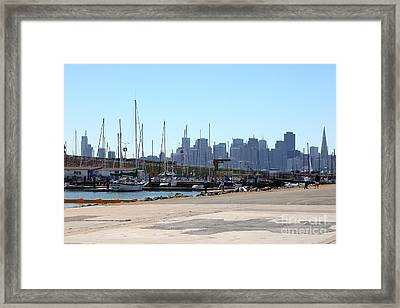 San Francisco Through The Treasure Isle Marina 5d25369 Framed Print by Wingsdomain Art and Photography