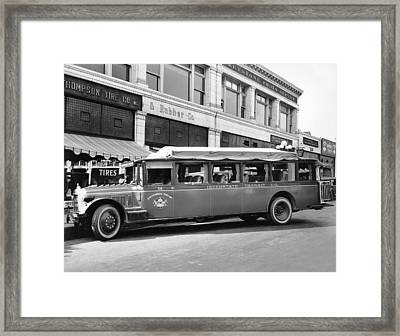 San Francisco To Portland Bus Framed Print by Keystone Photo Service