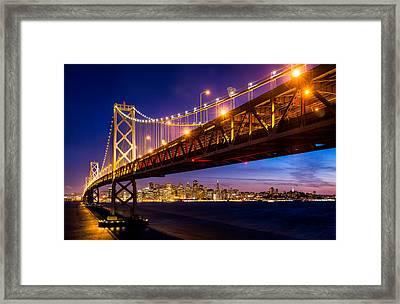San Francisco - Under The Bay Bridge Framed Print by Alexis Birkill