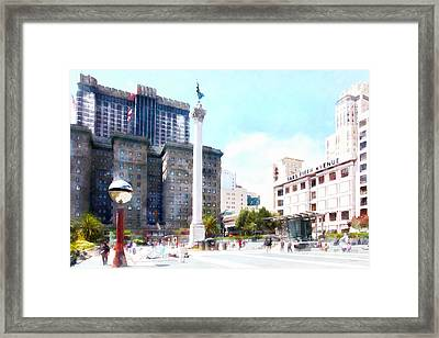 San Francisco Union Square 5d17933wcstyle Framed Print by Wingsdomain Art and Photography