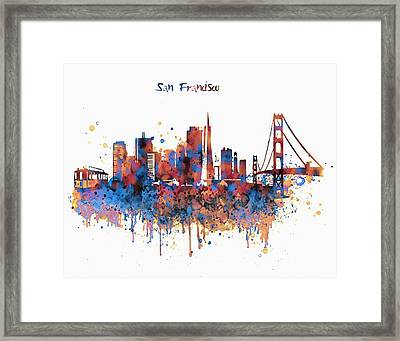 San Francisco Watercolor Skyline Framed Print by Marian Voicu