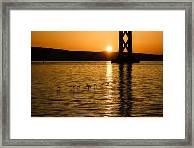 Framed Print featuring the photograph San Francisco Bay Bridge Sunrise by Georgia Mizuleva