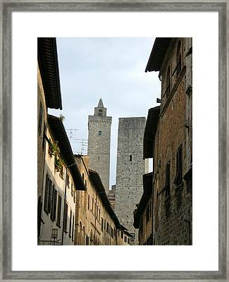 Framed Print featuring the photograph San Gimignano Italy by Victoria Lakes