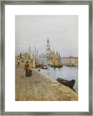 San Giorgio Maggiore From The Zattere Framed Print by Helen Allingham