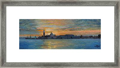 San Giorgio, Venice Lagoon, 2008 Oil On Board Framed Print