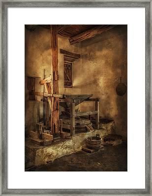 San Jose Mission Mill Framed Print by Priscilla Burgers