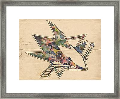San Jose Sharks Hockey Poster Framed Print by Florian Rodarte