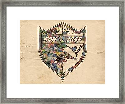 San Jose Sharks Retro Poster Framed Print by Florian Rodarte