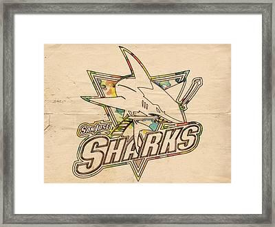 San Jose Sharks Vintage Poster Framed Print by Florian Rodarte