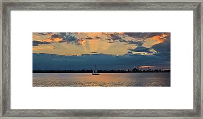San Juan Bay Sunset And Sailboat Framed Print