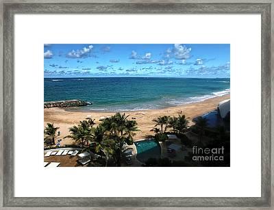San Juan Beach View Framed Print by John Rizzuto