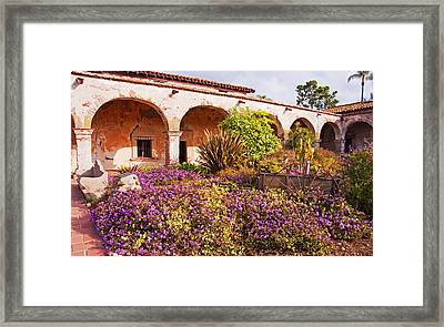 San Juan Capistrano Mission Flower Garden Framed Print