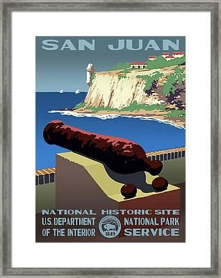 San Juan National Historic Site Vintage Poster Framed Print by Eric Glaser