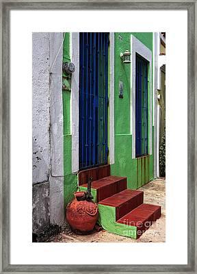 San Juan Red Stairs Framed Print by John Rizzuto